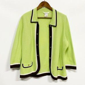 Misook | Green Open Front Cardigan Blazer L